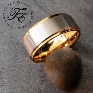 Mens Brushed Steel and gold Wedding Promise Ring